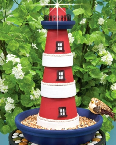 terra cotta pot lighthouses