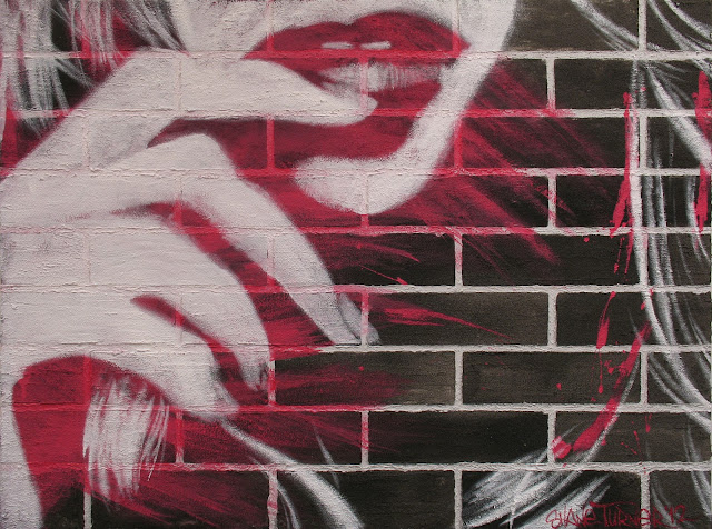 Canadian artist painting of pop art styled woman on textured background canvas using mediums to resemble the texture of a brick wall. Street art styled painting.
