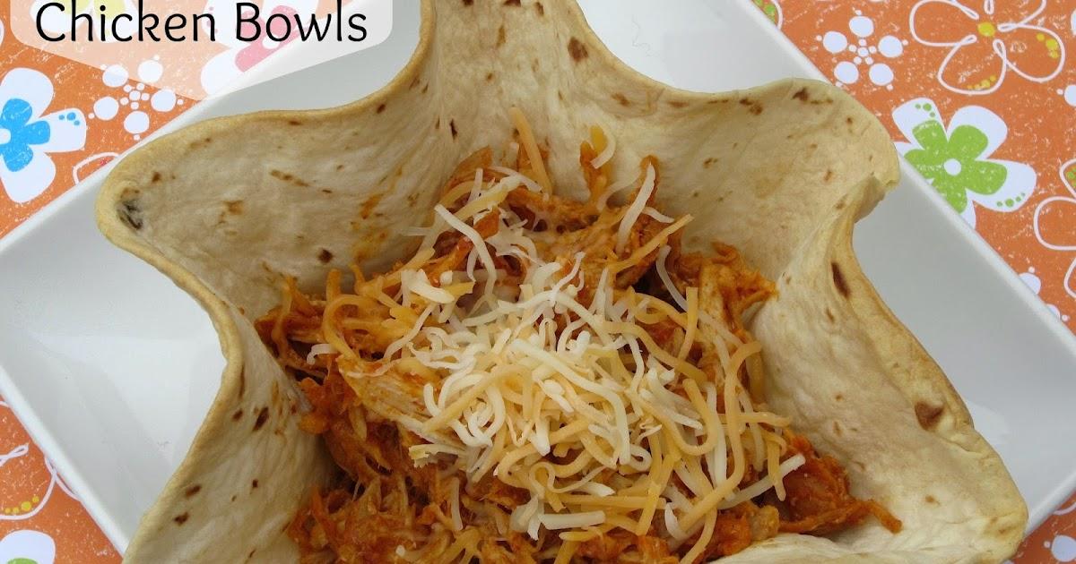 Crockpot Salsa Chicken Tortilla Bowls