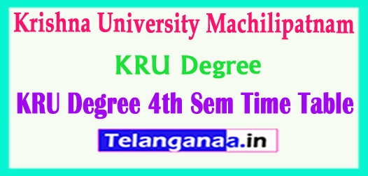 KRU Degree Krishna University Machilipatnam Degree 4th Sem Time Table 2018