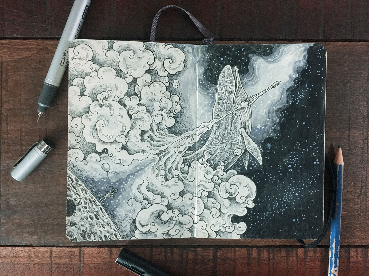 05-Joining-Whales-in-Space-Kerby-Rosanes-Detailed-Moleskine-Doodles-with-many-Whales-www-designstack-co