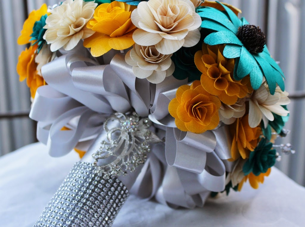 Teal Mustard Yellow And Gray Wedding Bouquets Made Of