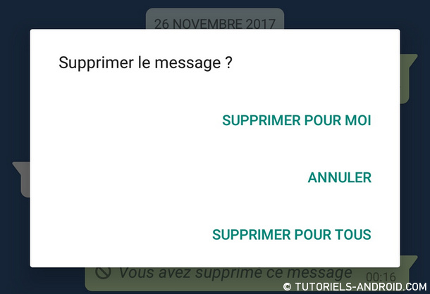 Whatsapp : supprimer message pour tous