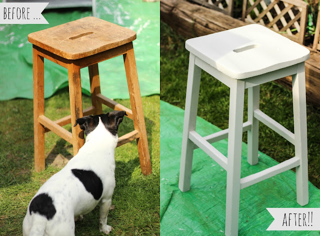 Shabby chic stool makeover