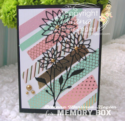 washi tape background with chrysanthemum flower die on card front