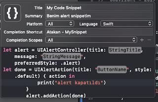 Alert Code Snippets