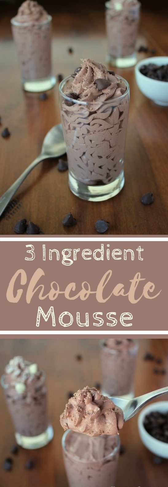 Easy 3-Ingredient Chocolate Mousse #dessert #chocolate