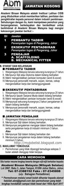 Jawatan Kosong Akademi Binaan Malaysia (ABM) April 2017