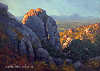 Studio oil painting of Devils Slide Porongurups, by Andy Dolphin
