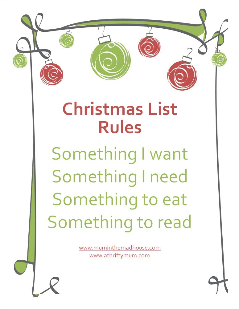 4 Things For Christmas.How To Spend Less At Christmas Tots 100