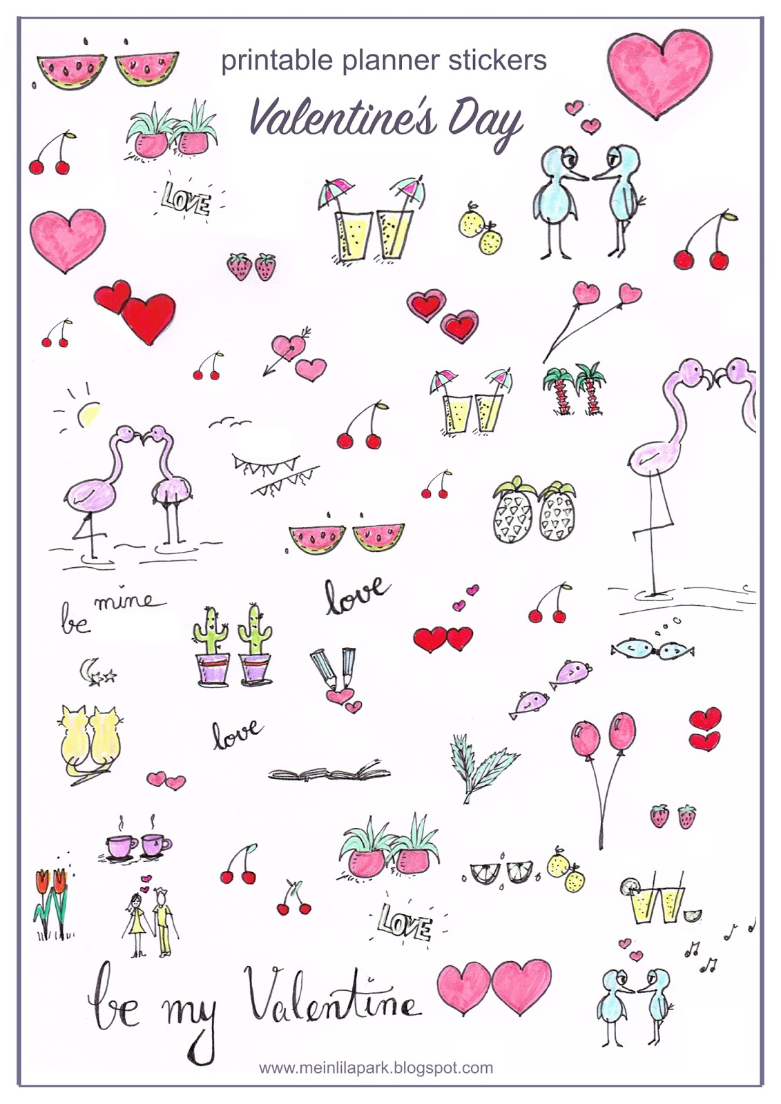 Free Printable Planner Stickers With Lots Of Love Stickers