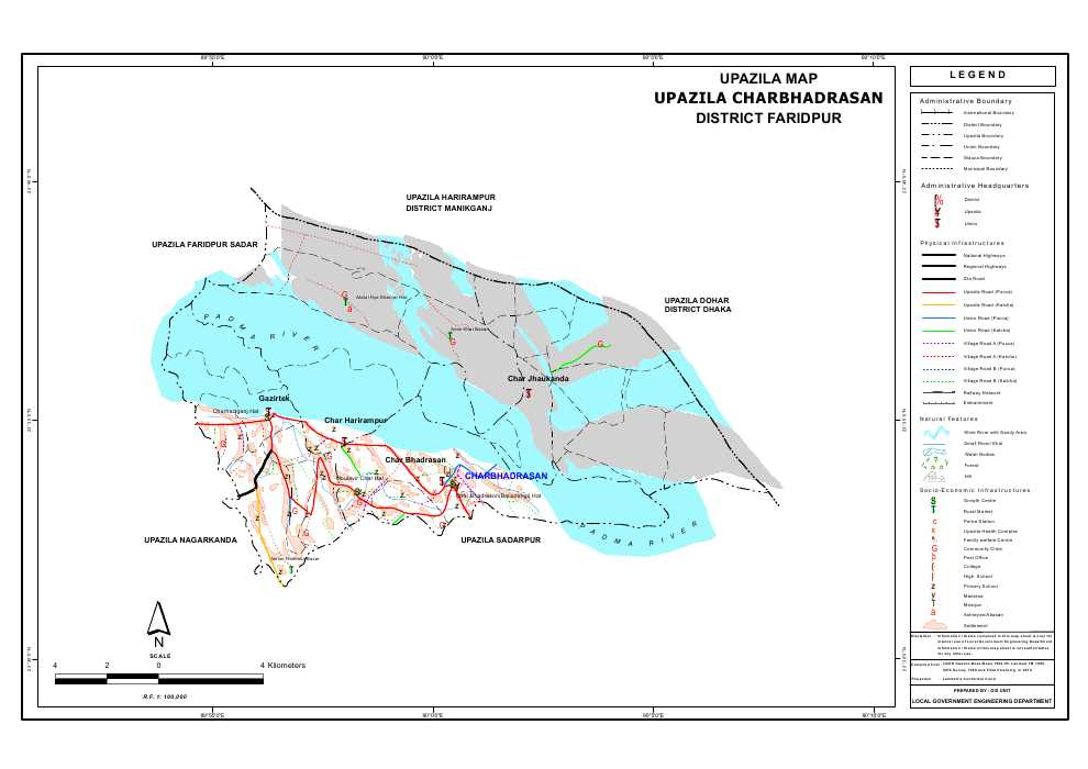 Charbhadrasan Upazila Map Faridpur District Bangladesh