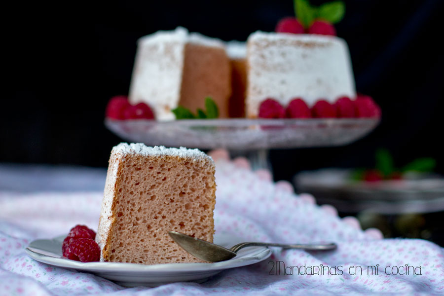 Raspberry Angel Food Cake con Thermomix