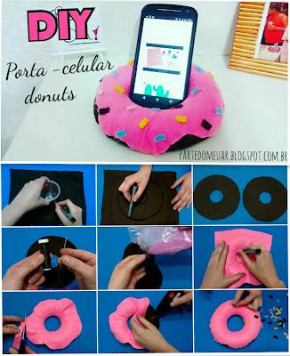 diy porta celular donuts