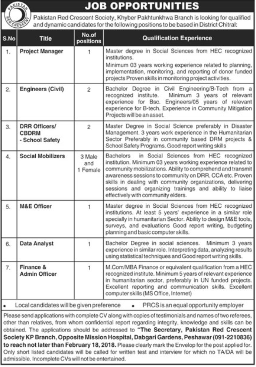Jobs In Pakistan Red Crescent Society (PRCS) Peshawar 2018 for 12 Posts