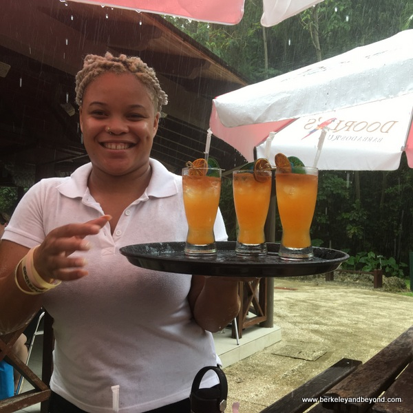 colorful rum drinks at Harrison's Cave in Barbados