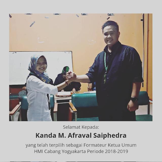 Mengusung Visi Civilized Organisation: Afraval Terpilih Sebagai Formateur HMI Cabang Yogyakarta periode 2018-2019