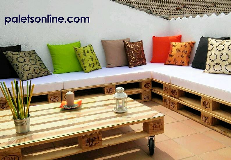 Muebles con palets europalet homologado eur epal para muebles - Colchones para terraza ...