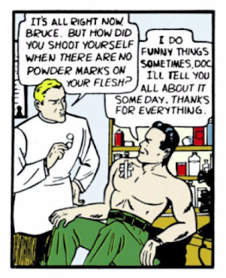 Detective Comics (1937) #29 Page 7 Panel 4: Bruce Wayne visits a doctor to treat his bullet wound (which he suffered while fighting crime as Batman).