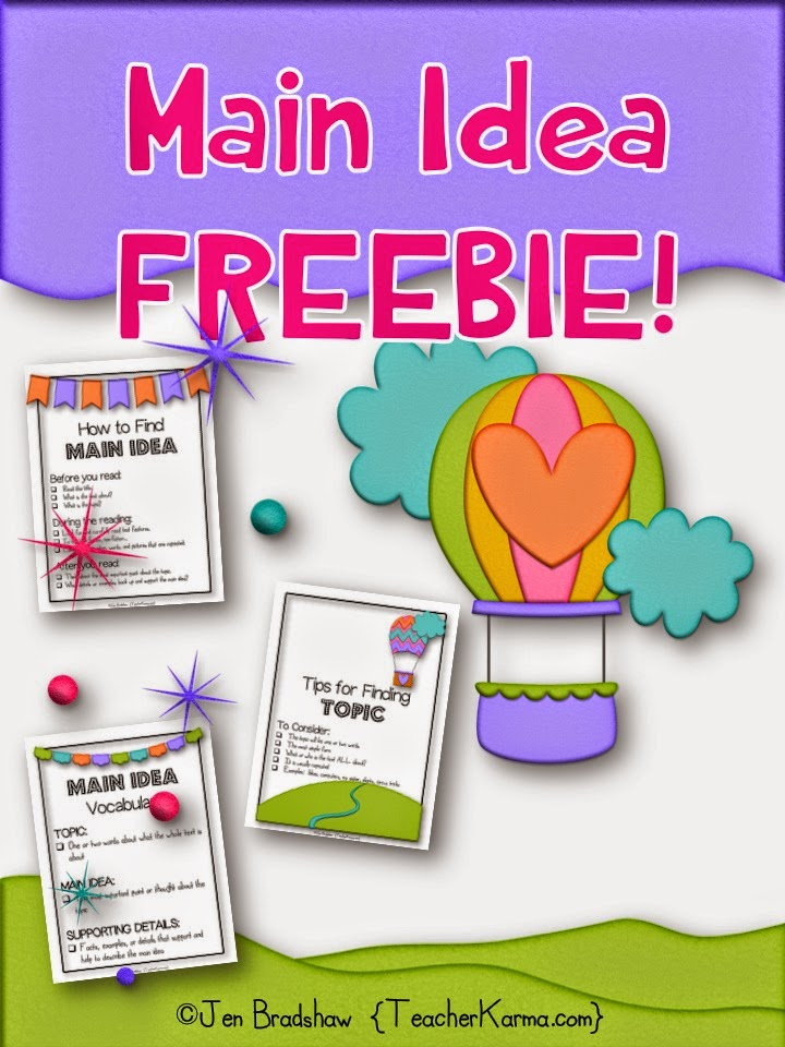 How to find main idea.  free comprehension resources.  teacherkarma.com