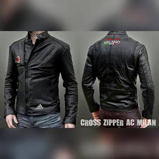 Jaket Kulit Cross Zipper