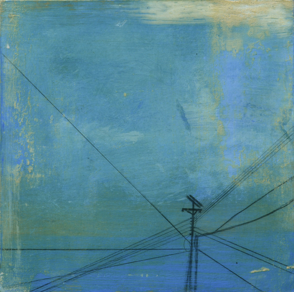 Powerline Cube 1 Oil painting mixed media art work with blue sky by Louisiana artist George Marks