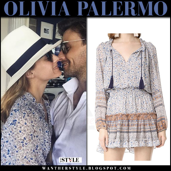 Olivia Palermo in floral print dress with Johannes Huebl instagram july 9 2017 what she wore