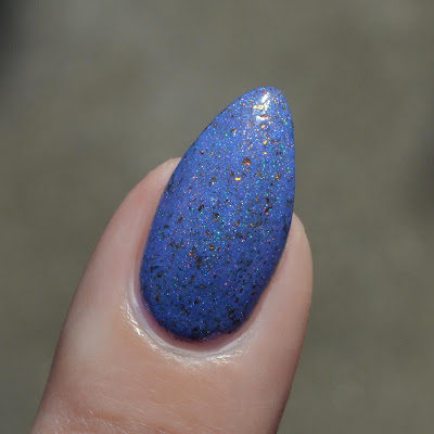 blue nail polish close up