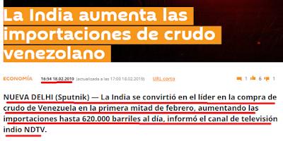 A propósito de la visita de macri a la india, país número uno comprador de crudo venezolano