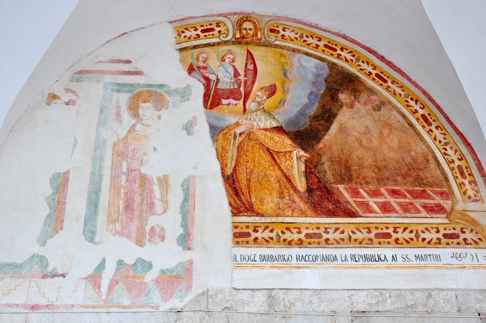 Fresco, overlaid over an older fresco, Cloister, Sanctuary of St. St. Vittore e Corona, Feltre, Veneto, Italy
