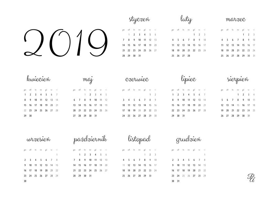 kalendarz 2019 czarny