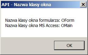 Nazwy klasy okien MS Access