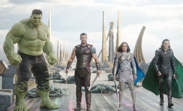 (L-R) Hulk (Mark Ruffalo), Thor (Chris Hemsworth), Valkyrie (Tessa Thompson) and Loki (Tom Hiddleston) join forces in THOR: RAGNAROK (2017)