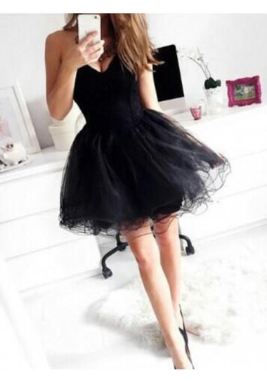 Sweetheart Short/Mini Tulle Black Homecoming Dresses Short Prom Dresses