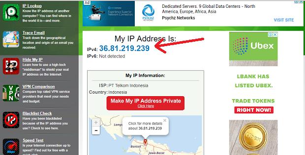 cara melihat ip address public