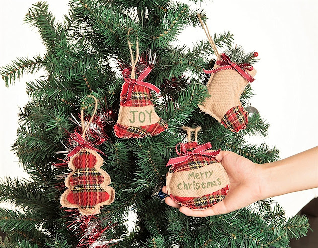 of course you cant have a country christmas without some plaid i love how these tartan burlap christmas ornaments combine a traditional red plaid with - Plaid Christmas Ornaments