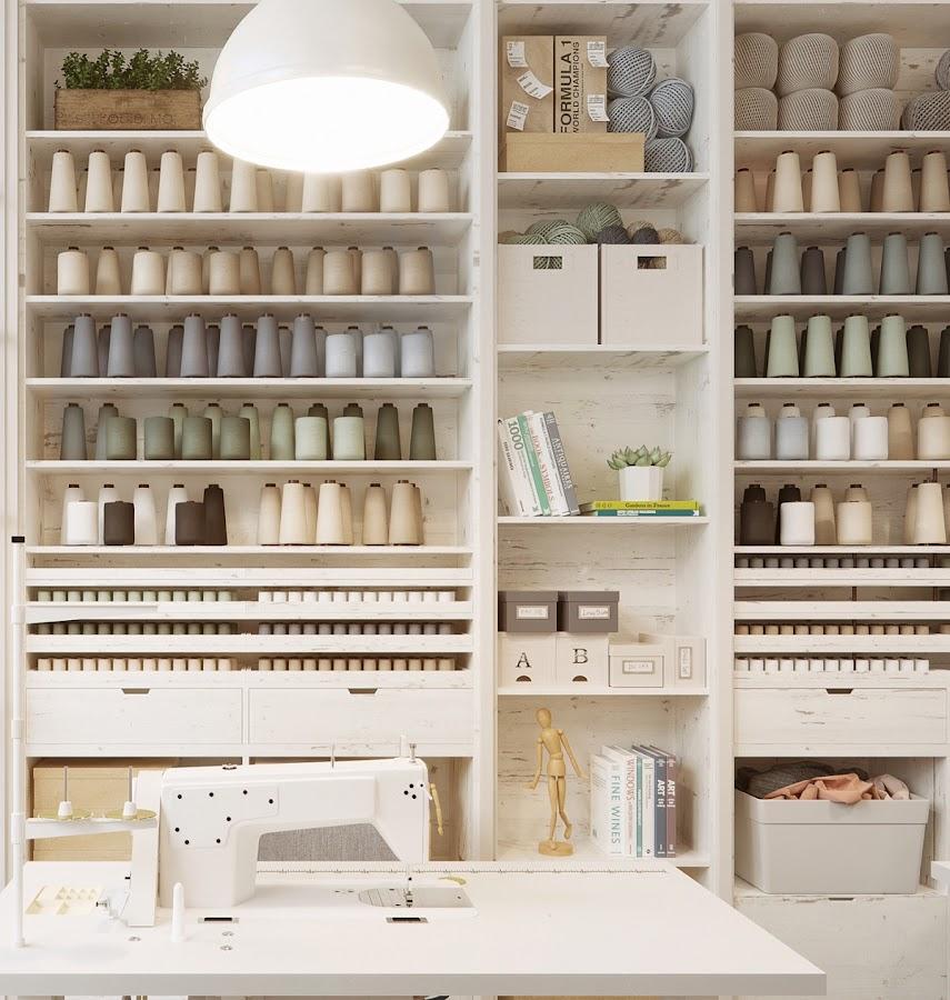 hilos, taller de costura, colores neutros, estanterias madera, estanterias, como hacer estanterias, almacenaje, almacenaje de pared, espacio de trabajo, estilo nordico, interiorismo, alquimia deco, barcelona