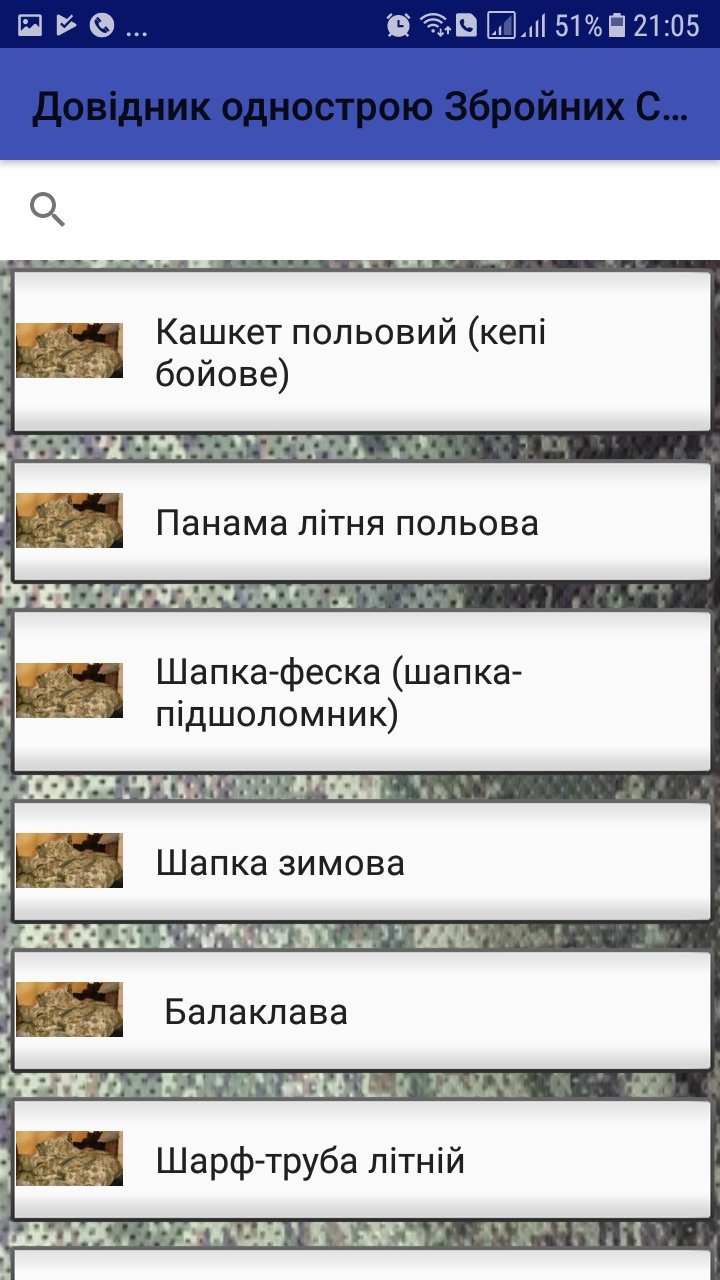 Мобільний додаток: Довідник однострою ЗСУ