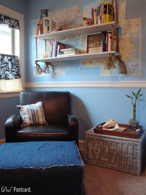 Denim Ottoman Slipcover And A Weathered Wicker File Basket