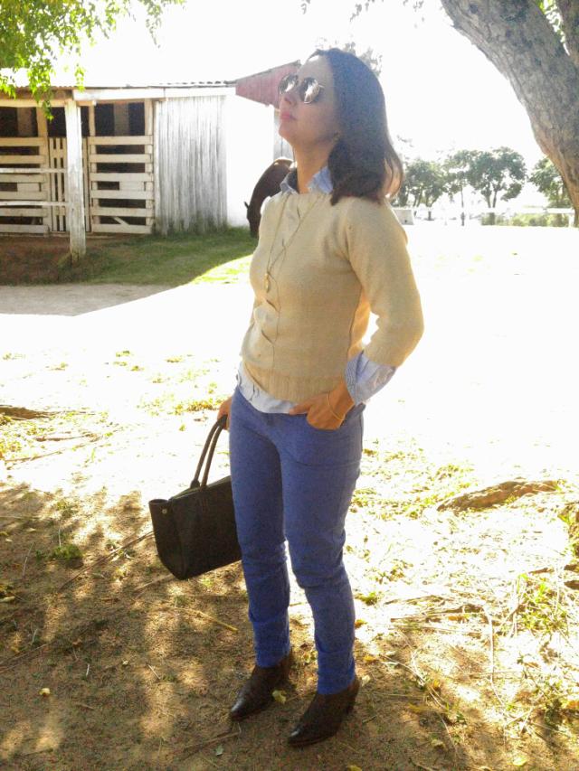 Calça de montaria azul e suéter dourado