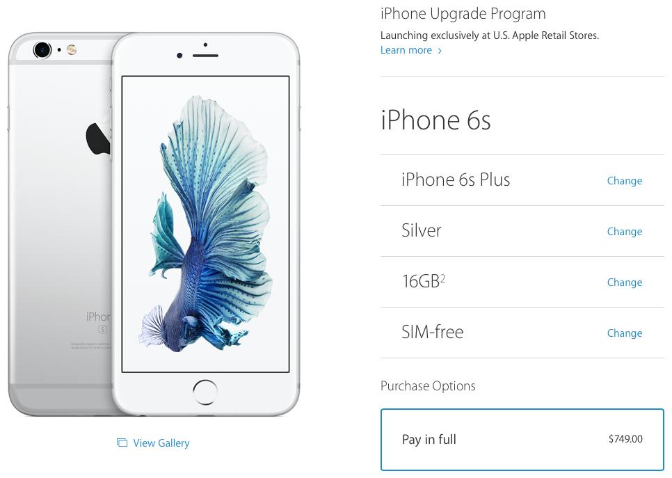 Iphoneproweb Iphone 6s Sans Carte Sim Maintenant Disponibles Dans La Boutique En Ligne D Apple