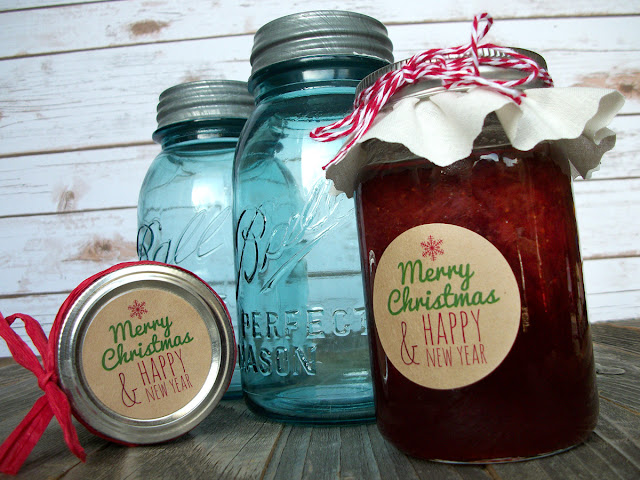 Merry Christmas Happy New Years canning jar labels=