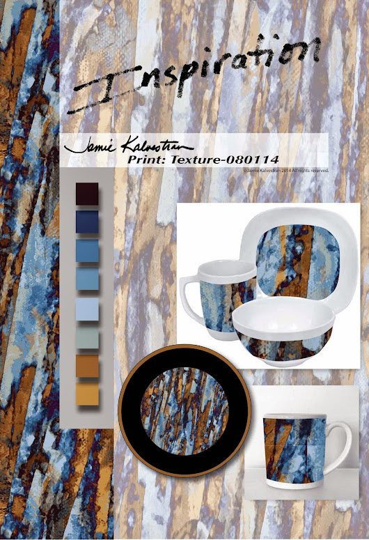 Prints & Patterns aka A Pattern A Day - Art Licensing and Sales: Textural Print for Dinnerware