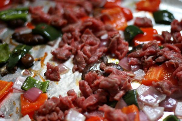 veggies roasted, time to add steak