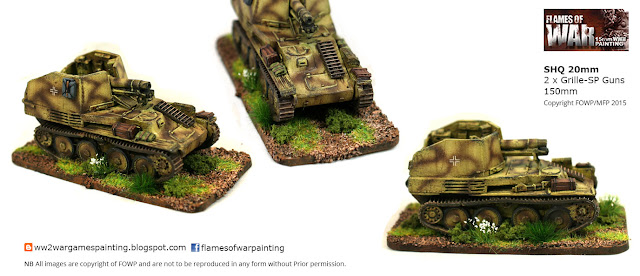 2 x Grille-SP Guns 150mm SHQ 20mm painting by Flames of war Painting