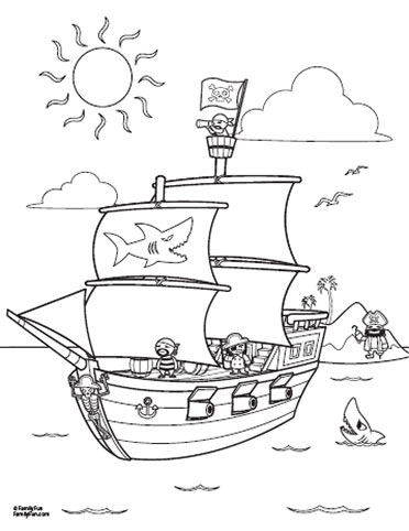Pirate ship cutouts printable pictures to pin on pinterest for Pirate ship sails template