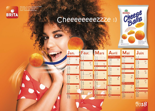création calendrier plateau Cheese balls 2018, recto