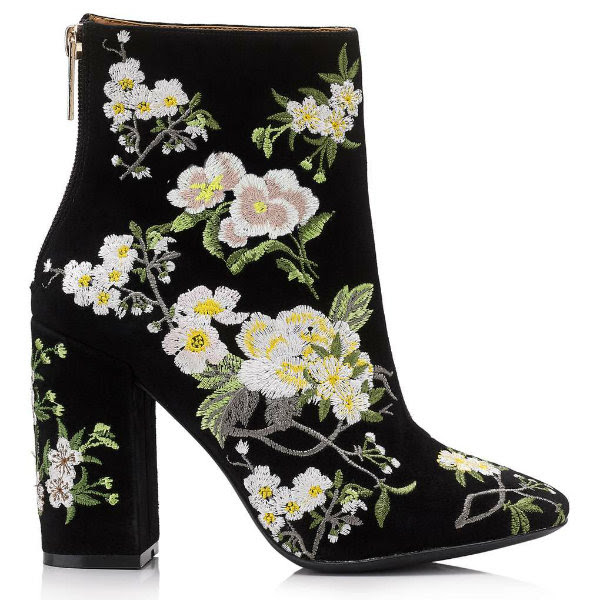 miss selfridge athena embroidered ankle boots