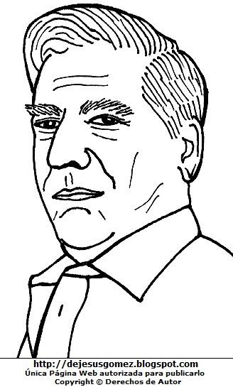 Dibujo de Mario Vargas Llosa para colorear pintar, imprimir. Mario Vargas Llosa hecho por Jesus Gómez