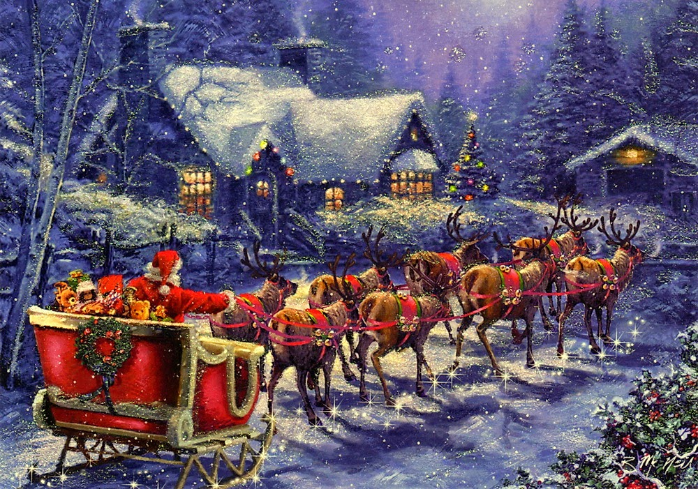 pictures of santa and his sleigh santa claus coming to town riding his reindeer sleigh 6593